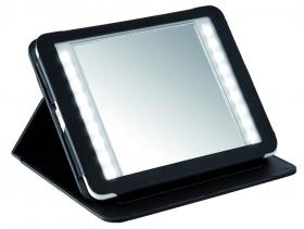 Kerry Travel Nicol косметическое зеркало двухстороннее в чехле с подсветкой LED с увеличением 1х1 и 1х3