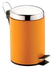 Ведро с педалью оранжевое