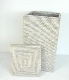 Раттан Rattan корзина для белья плетёная квадратная с крышкой натуральный светлый Большая