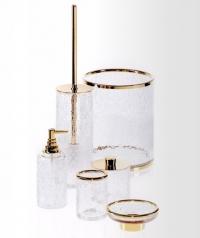 Стеклянные аксессуары для ванной Crack кракелюрные золотые
