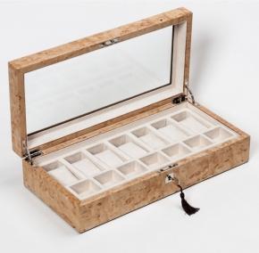 Аксессуары и Мебель для дома. Wood Collection бокс для часов и украшений деревянный Карельская берёза