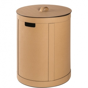 . Storage Brow кожаная корзина для белья универсальная с крышкой круглая