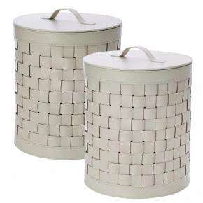 Кожаная плетёная корзина для белья с крышкой - ёмкость универсальная Outdoor laundry