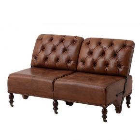 Диваны. Eichholtz Tete-a-tete диван-трансформер кожаный коричневый