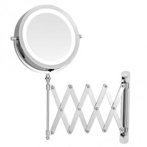 Зеркала косметические с подсветкой увеличением настенные настольные Зеркала с присосками.   ALICIA Nicol косметическое зеркало с подсветкой LED от батареек и пятикратным увеличением настенное с гармошкой двухстороннее