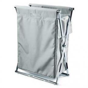 Корзины для белья.  Корзина для белья CROSS складная с текстильным мешком серая Decor Walther