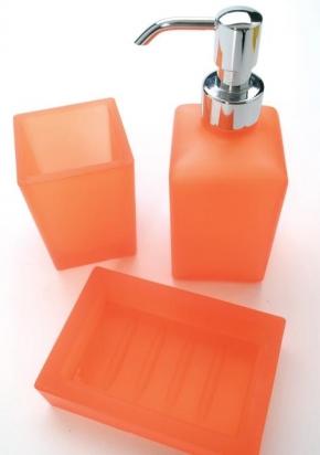 Аксессуары для ванной настольные.  Аксессуары для ванной настольные стеклянные оранжевые Arcobaleno Marmores