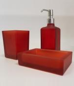 Аксессуары для ванной настольные.  Аксессуары для ванной настольные стеклянные красные Arcobaleno Marmores