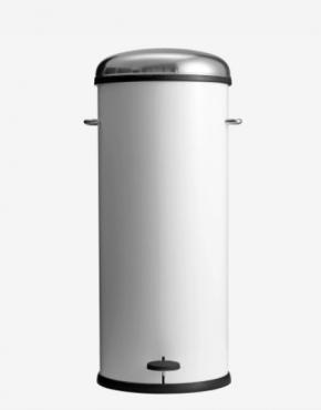 Мусорные баки и вёдра для кухни. Ведро с педалью металлическое 30 литров Белое