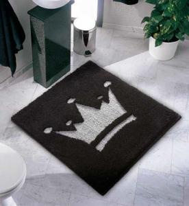 Коврики для ванной комнаты.  Crown Nicol коврик для ванной комнаты Корона квадратный чёрный с серебром