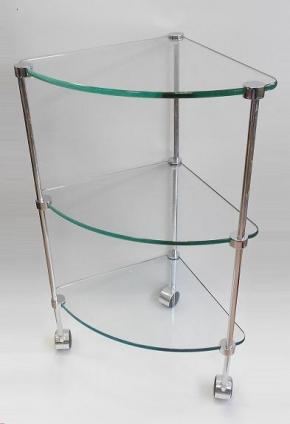 Этажерки для ванной. T2 Этажерка стеклянная на роликах угловая хром 3 полки