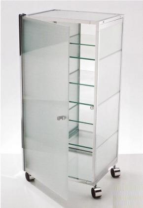 Этажерки для ванной. W1 Этажерка на роликах стеклянная для ванной