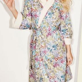 Халаты Одежда для бани и сауны Deluxe. Халат с шалью женский (S; M; L) Enfleur Prairie (Анфлер Прери) от Yves Delorme