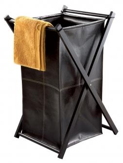 Корзины для белья. LOTTA Nicol Корзина для белья кожаная складная коричневая с крышкой