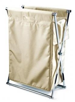 Корзины для белья.  Корзина для белья CROSS складная с текстильным мешком Крем Decor Walther