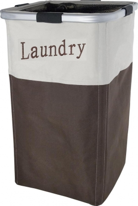 Корзины для белья. HILDA Корзина для белья текстильная с каркасом коричневая бежевая