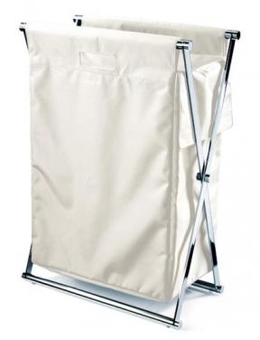 Корзины для белья.  Корзина для белья CROSS складная с текстильным мешком Белая Decor Walther