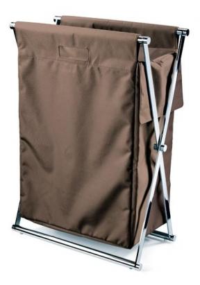 Корзины для белья.  Корзина для белья CROSS складная с текстильным мешком Коричневая Decor Walther