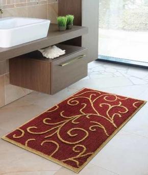 Коврики для ванной комнаты.  Romance Nicol коврик для ванной комнаты бордовый с декором золотой люрекс