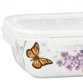 . Фарфоровый контейнер для хранения прямоугольный с крышкой 21 см Бабочки на лугу