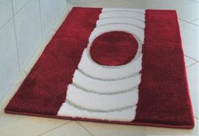 Коврики для ванной на заказ из Германии индивидуального дизайна и размера. INKA коврик для ванной красно-белый с серебряным люрексом. Индивидуальное производство на заказ
