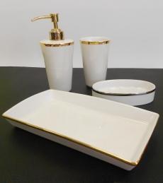 . Sofia Nicol аксессуары для ванной настольные золотые фарфоровые комплект