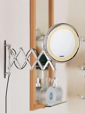 Зеркала косметические с подсветкой увеличением настенные настольные Зеркала с присосками. ANNA Nicol косметическое зеркало с неоновой подсветкой увеличением 1х5 и удлинённым шарниром гармошка двойная