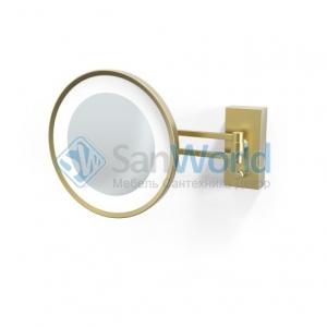 Decor Walther BS36 золотое матовое настенное косметическое зеркало с подсветкой LED и увеличением х5 или х3