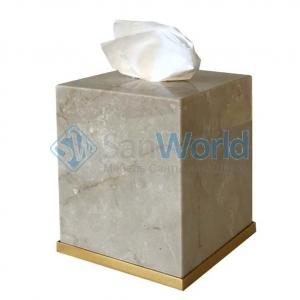 Elegance Gold Botticino мраморная салфетница Золото куб