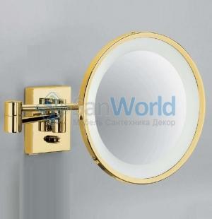 Косметическое зеркало Золотое с подсветкой и увеличением настенное Gold 40 без провода Decor Walther