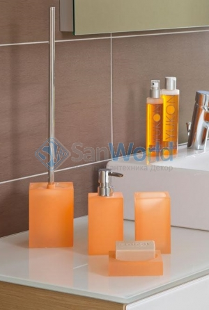 Cube Аксессуары для ванной настольные квадратные оранжевые