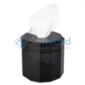 Kristall настольные аксессуары для ванной хрустальные Чёрная круглая салфетница Decor Walther
