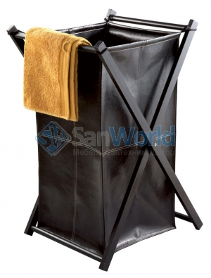 LOTTA Nicol Корзина для белья кожаная складная коричневая с крышкой