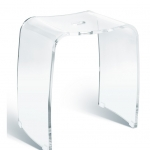Meran акриловый табурет для ванной прозрачный с прорезной ручкой бесцветный
