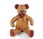 Мишка (мягкая игрушка) в текстиле с оранжевым узором (60 см)