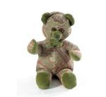 Мишка (мягкая игрушка) в текстиле с зеленым узором (34 см)