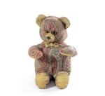 Мишка (мягкая игрушка) в текстиле с узором (34 см)