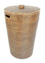 Аксессуары и Мебель для дома. Раттан Rattan корзина для белья плетёная хранения с крышкой натуральный тёмный Большая