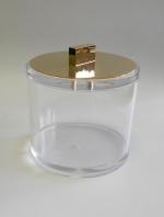 Контейнер для ватных дисков и шариков с крышкой золотой Acryl