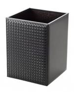 Аксессуары для кабинета Deluxe. Ведро кожаное плетёное Nappa Black Milano by Riviere чёрное