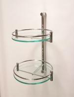 Полка стеклянная для ванной круглая двойная