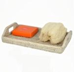Rattan плетёный лоток поднос с ручками Ротанг Раттан натуральный светлый