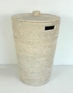Корзины для белья. Раттан Rattan плетёная корзина для белья и хранения с крышкой натуральный светлый Большая