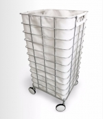 Корзина для белья сетка на роликах Trolley