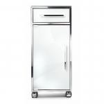 Стеклянный шкаф на роликах этажерка для ванной
