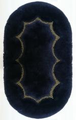 Romantic Коврик для ванной комнаты Nicol синий с золотым люрексом овальный