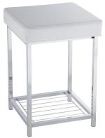 Kubus квадратный табурет для ванной с мягким сиденьем и полкой кожаный белый