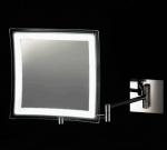 Квадратное настенное Зеркало косметическое с подсветкой LED от батареек и увеличением 1х5