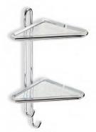 Полка для ванной угловая двойная с крючками