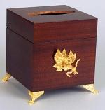 Салфетница деревянная Mogano куб настольная с декором Золото Бронза